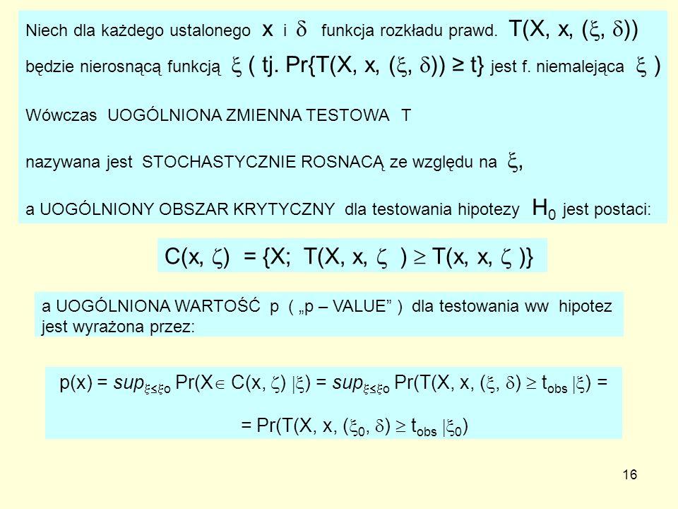 = Pr(T(X, x, (0, )  tobs 0)