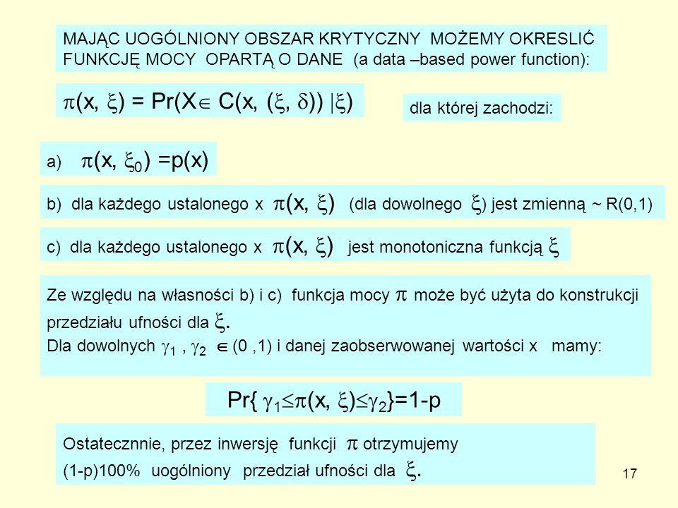 (x, ) = Pr(X C(x, (, )) )