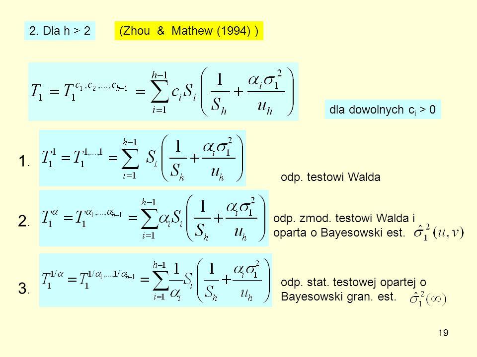 1. 2. 3. 2. Dla h > 2 (Zhou & Mathew (1994) )