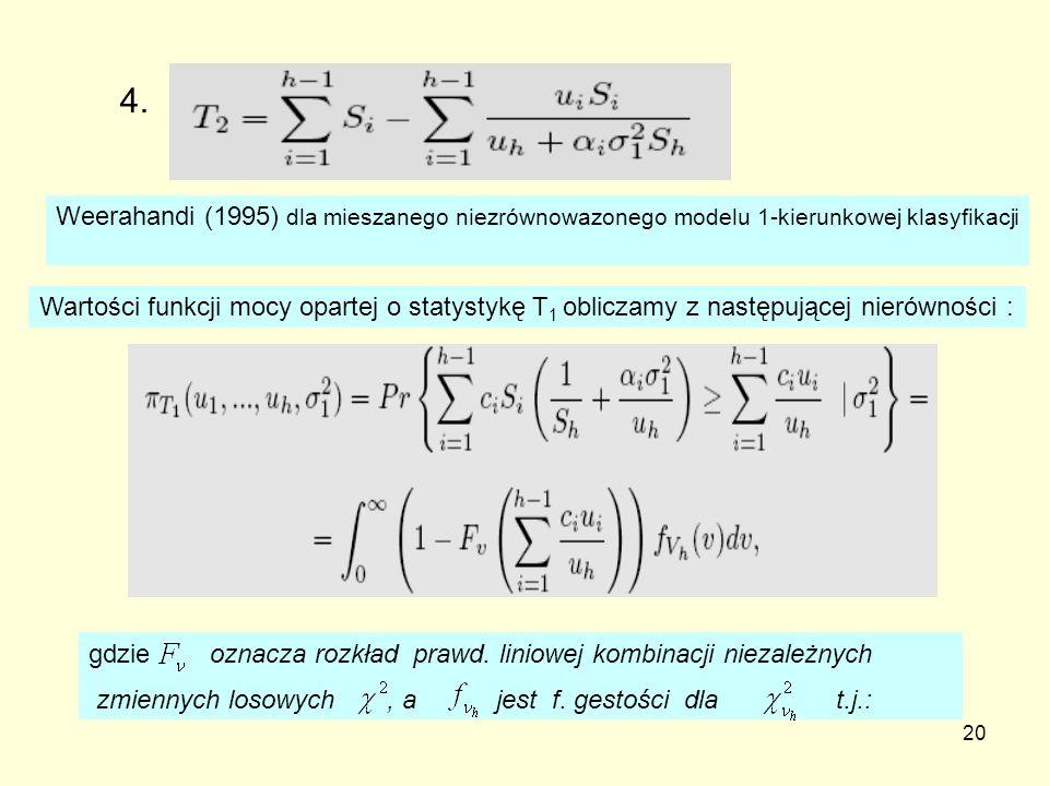 4. Weerahandi (1995) dla mieszanego niezrównowazonego modelu 1-kierunkowej klasyfikacji.