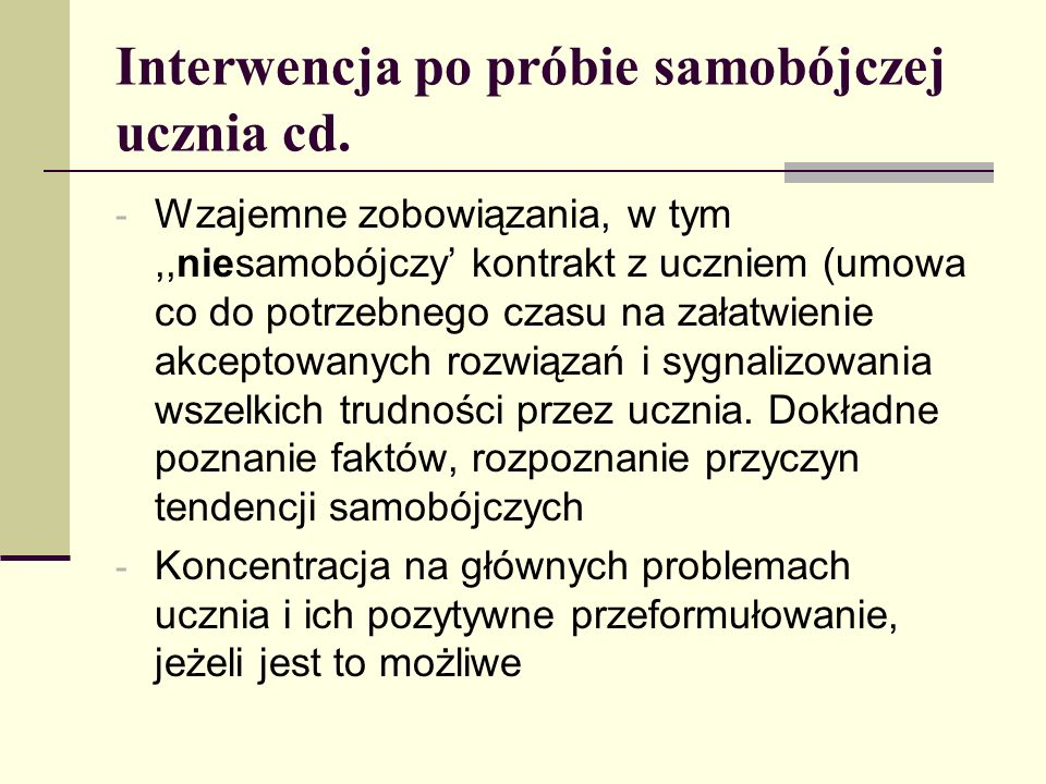 Interwencja po próbie samobójczej ucznia cd.