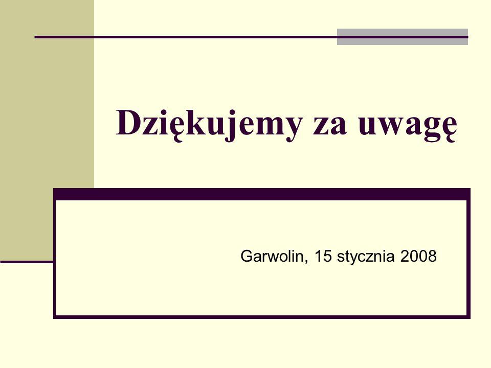 Dziękujemy za uwagę Garwolin, 15 stycznia 2008