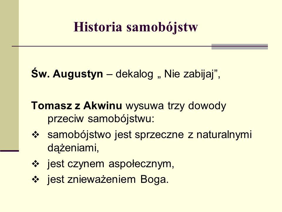 """Historia samobójstw Św. Augustyn – dekalog """" Nie zabijaj ,"""