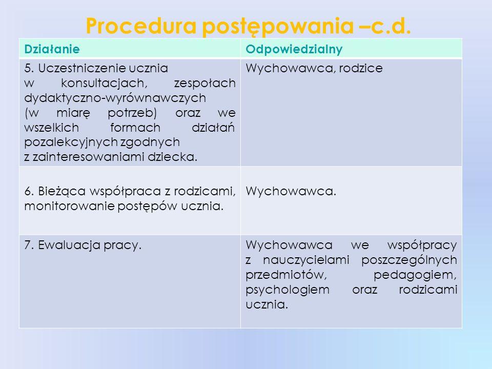 Procedura postępowania –c.d.