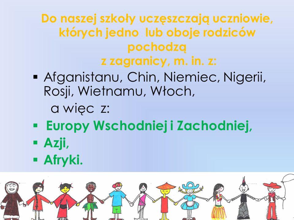 Do naszej szkoły uczęszczają uczniowie, których jedno lub oboje rodziców pochodzą z zagranicy, m. in. z: