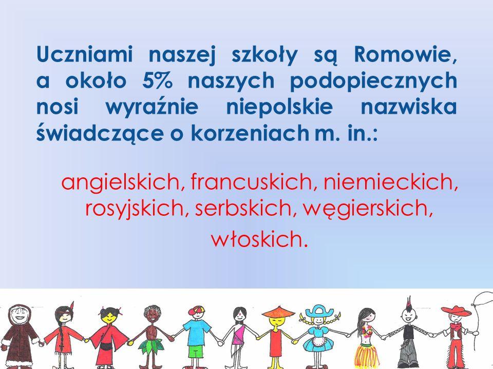 Uczniami naszej szkoły są Romowie, a około 5% naszych podopiecznych nosi wyraźnie niepolskie nazwiska świadczące o korzeniach m. in.: