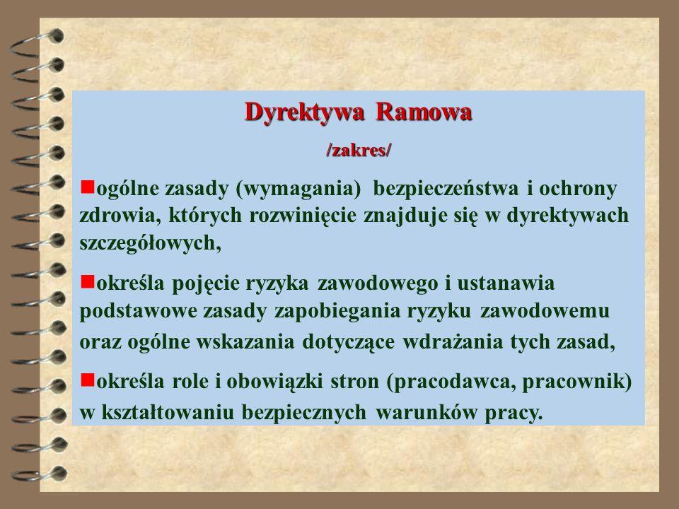 Dyrektywa Ramowa/zakres/ ogólne zasady (wymagania) bezpieczeństwa i ochrony zdrowia, których rozwinięcie znajduje się w dyrektywach szczegółowych,