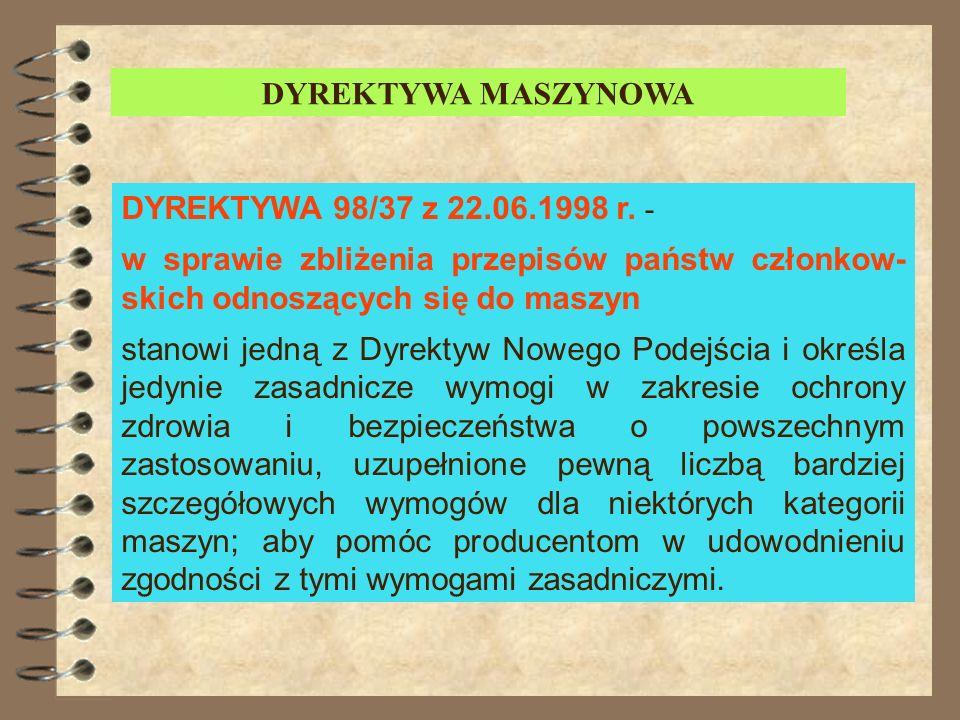 DYREKTYWA MASZYNOWADYREKTYWA 98/37 z 22.06.1998 r. - w sprawie zbliżenia przepisów państw członkow-skich odnoszących się do maszyn.