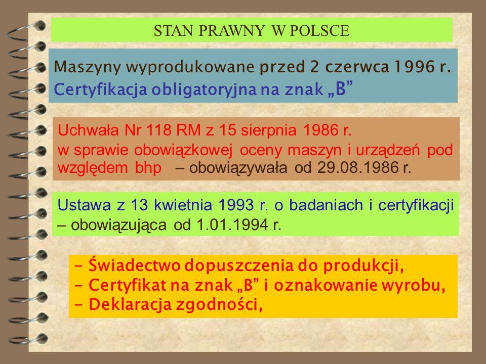 """STAN PRAWNY W POLSCEMaszyny wyprodukowane przed 2 czerwca 1996 r. Certyfikacja obligatoryjna na znak """"B"""