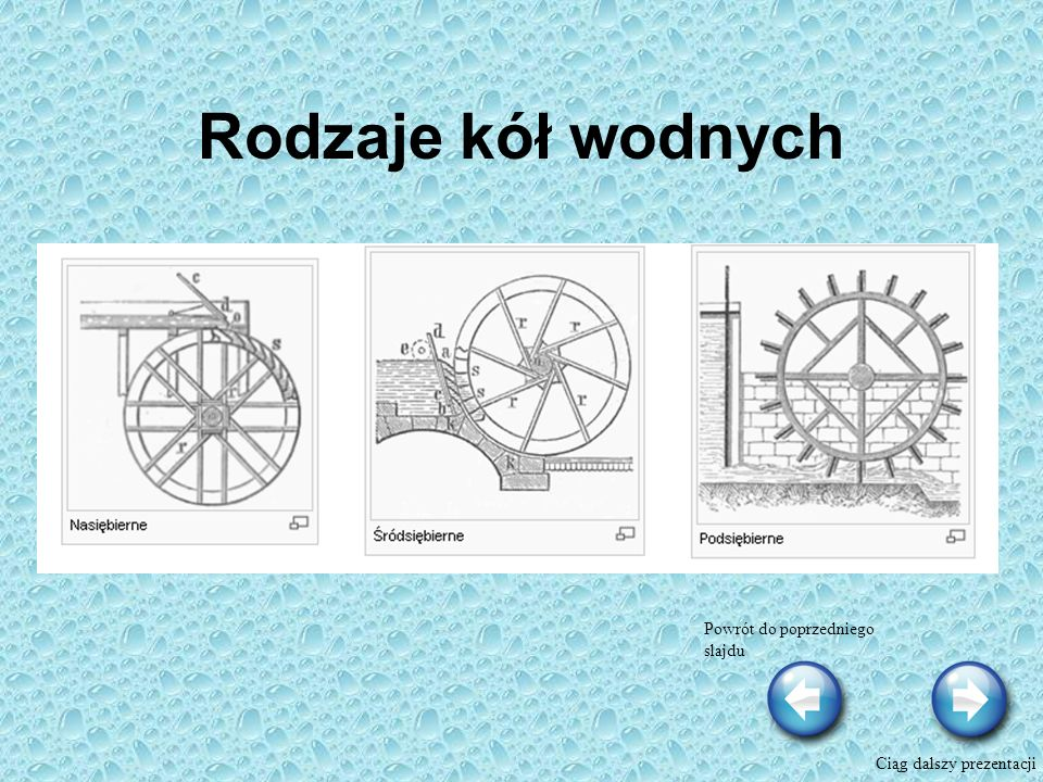 Rodzaje kół wodnych Powrót do poprzedniego slajdu