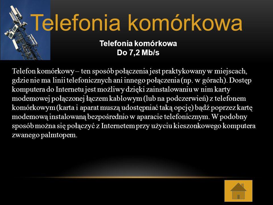 Telefonia komórkowa Telefonia komórkowa Do 7,2 Mb/s