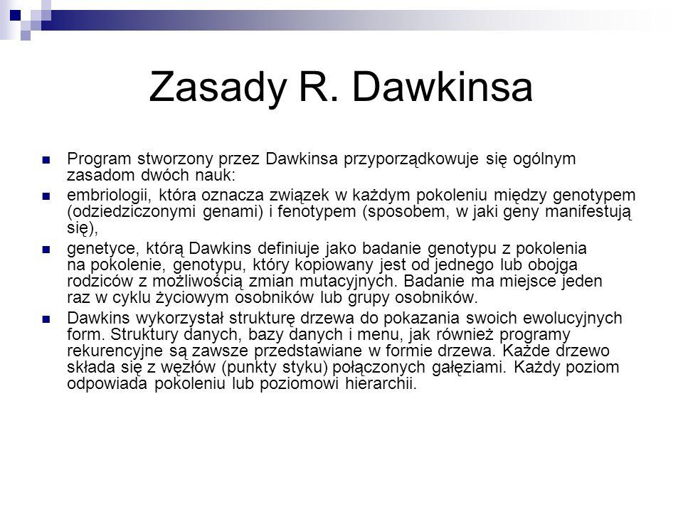 Zasady R. Dawkinsa Program stworzony przez Dawkinsa przyporządkowuje się ogólnym zasadom dwóch nauk: