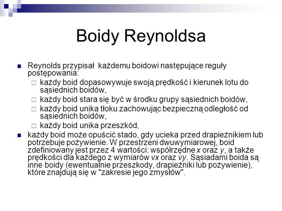 Boidy Reynoldsa Reynolds przypisał każdemu boidowi następujące reguły postępowania: