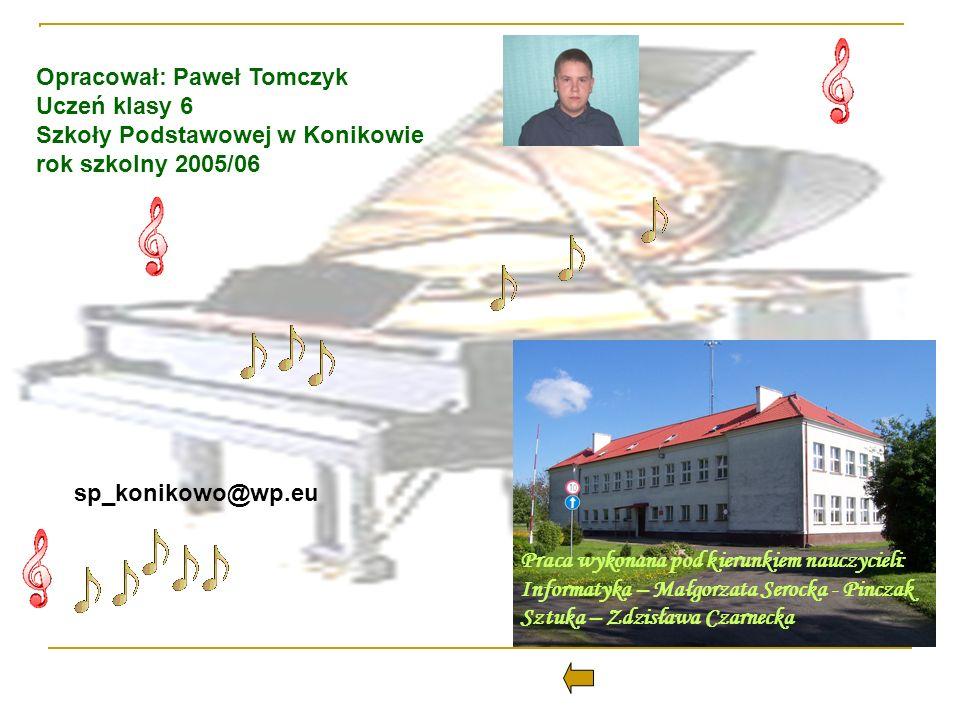 Opracował: Paweł Tomczyk Uczeń klasy 6 Szkoły Podstawowej w Konikowie rok szkolny 2005/06