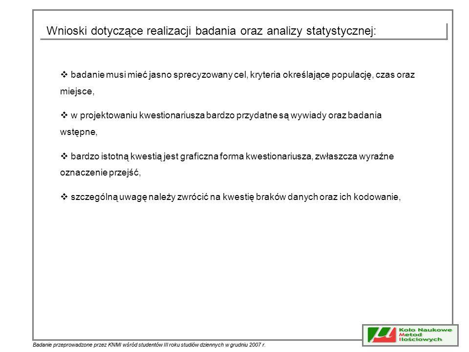 Wnioski dotyczące realizacji badania oraz analizy statystycznej:
