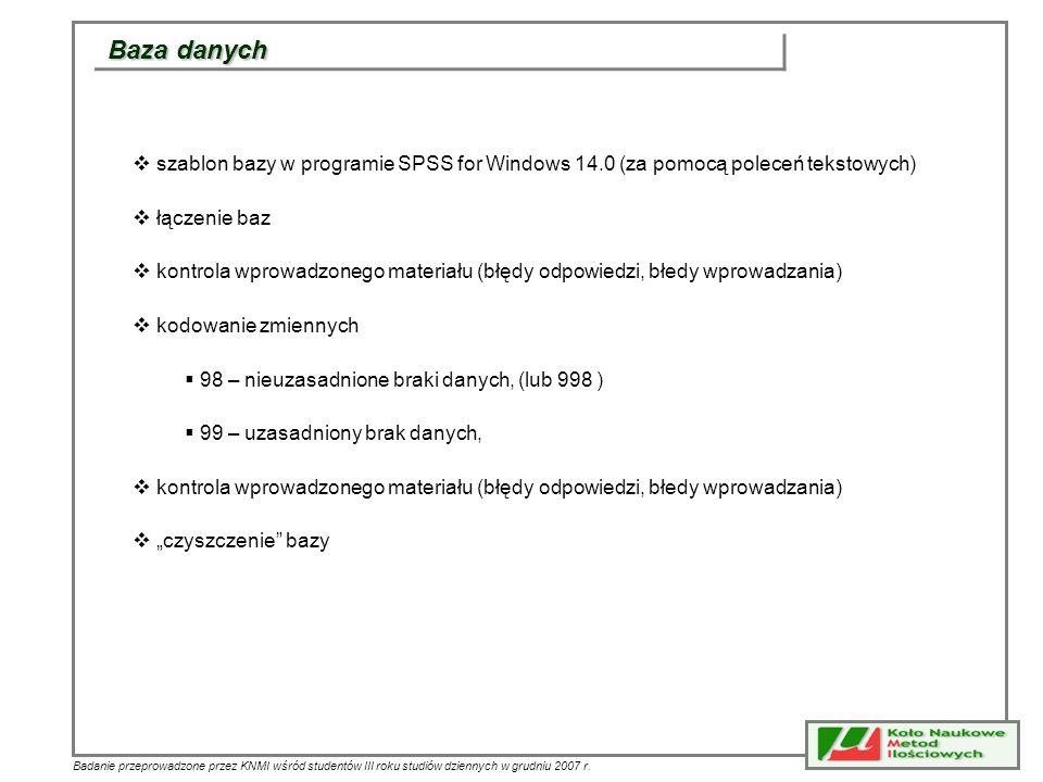 Baza danych szablon bazy w programie SPSS for Windows 14.0 (za pomocą poleceń tekstowych) łączenie baz.