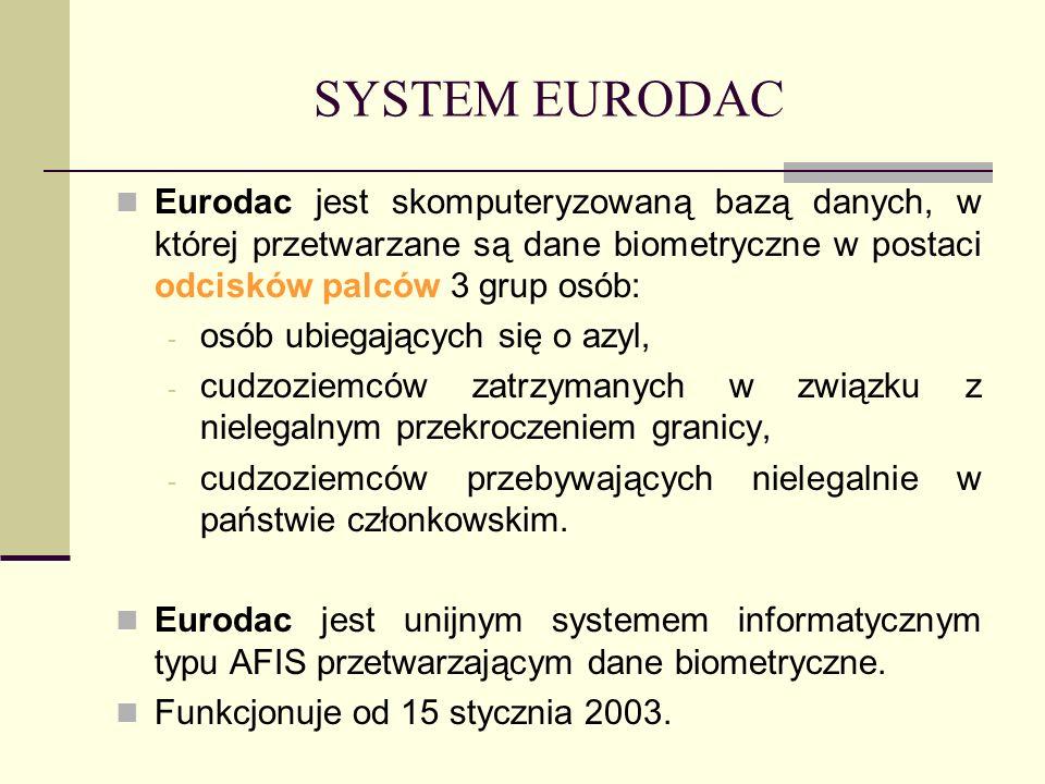 SYSTEM EURODAC Eurodac jest skomputeryzowaną bazą danych, w której przetwarzane są dane biometryczne w postaci odcisków palców 3 grup osób: