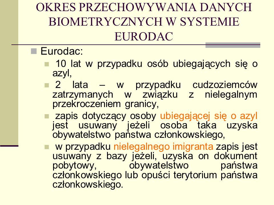 OKRES PRZECHOWYWANIA DANYCH BIOMETRYCZNYCH W SYSTEMIE EURODAC