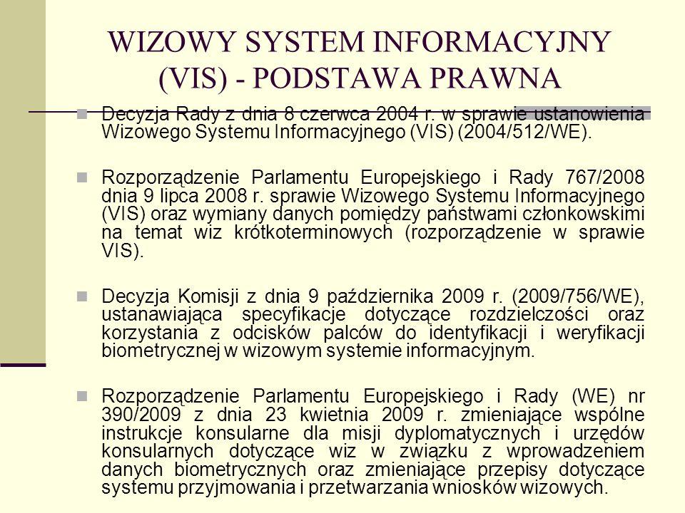 WIZOWY SYSTEM INFORMACYJNY (VIS) - PODSTAWA PRAWNA