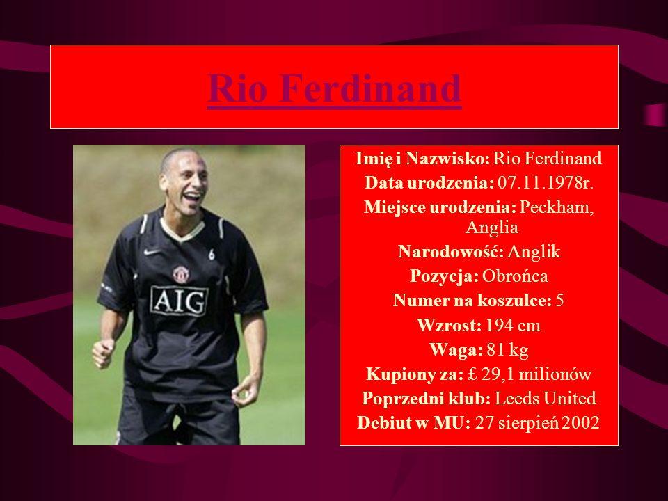 Rio Ferdinand Imię i Nazwisko: Rio Ferdinand