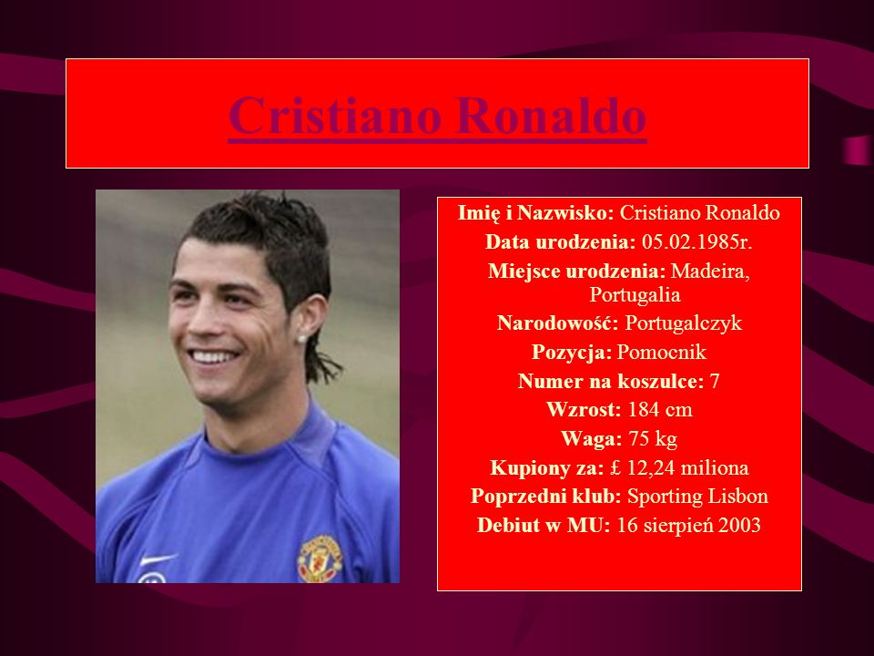 Cristiano Ronaldo Imię i Nazwisko: Cristiano Ronaldo