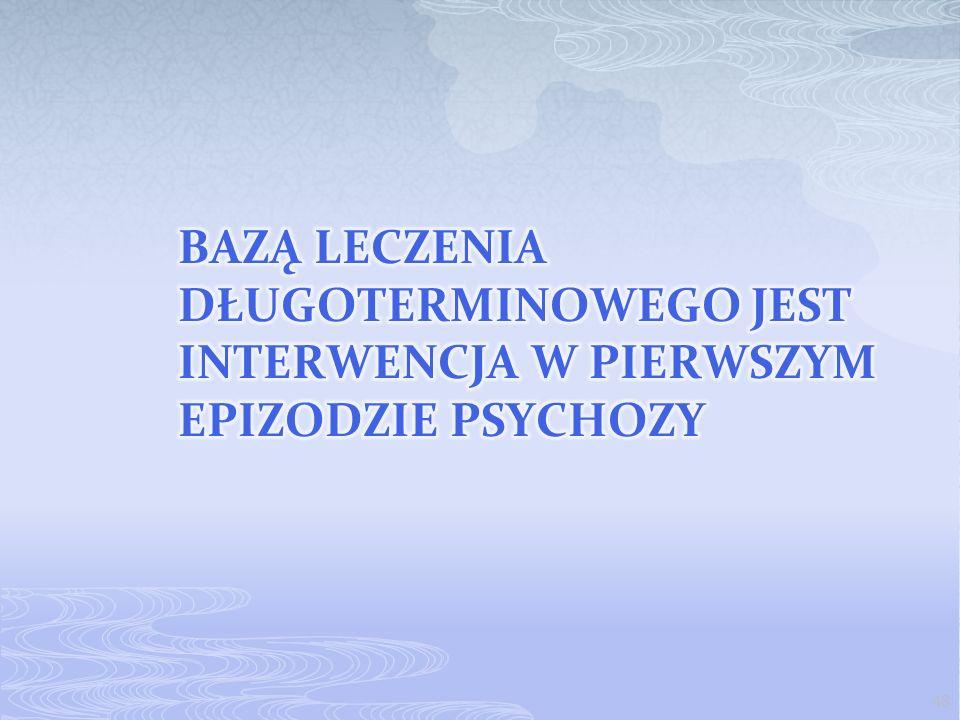 Bazą leczenia długoterminowego jest interwencja w pierwszym epizodzie psychozy