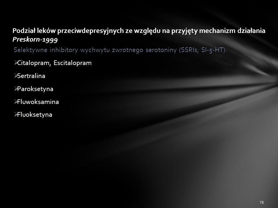 Podział leków przeciwdepresyjnych ze względu na przyjęty mechanizm działania Preskorn-1999
