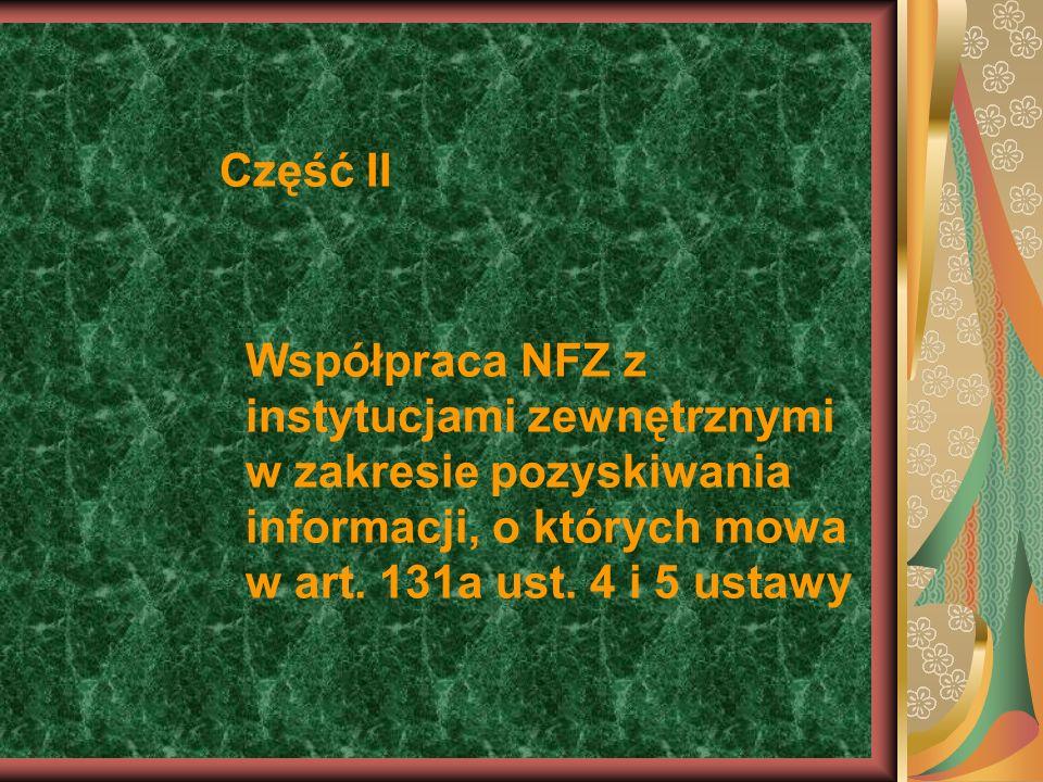Część II Współpraca NFZ z instytucjami zewnętrznymi w zakresie pozyskiwania informacji, o których mowa w art.