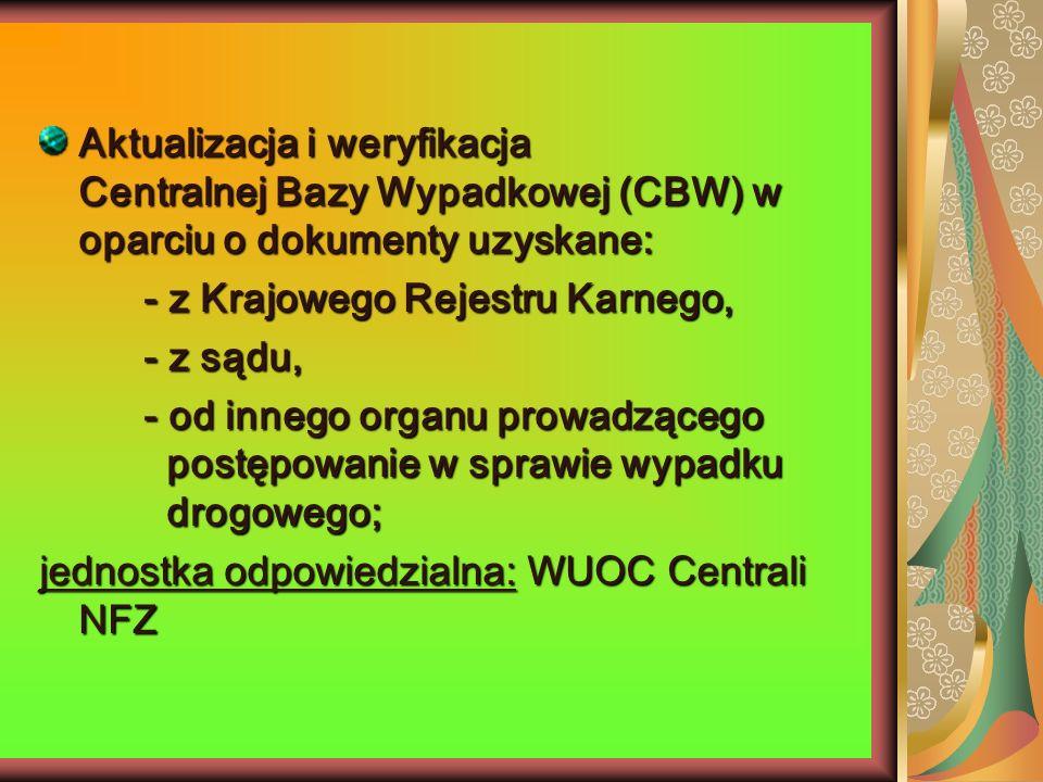 Aktualizacja i weryfikacja Centralnej Bazy Wypadkowej (CBW) w oparciu o dokumenty uzyskane: