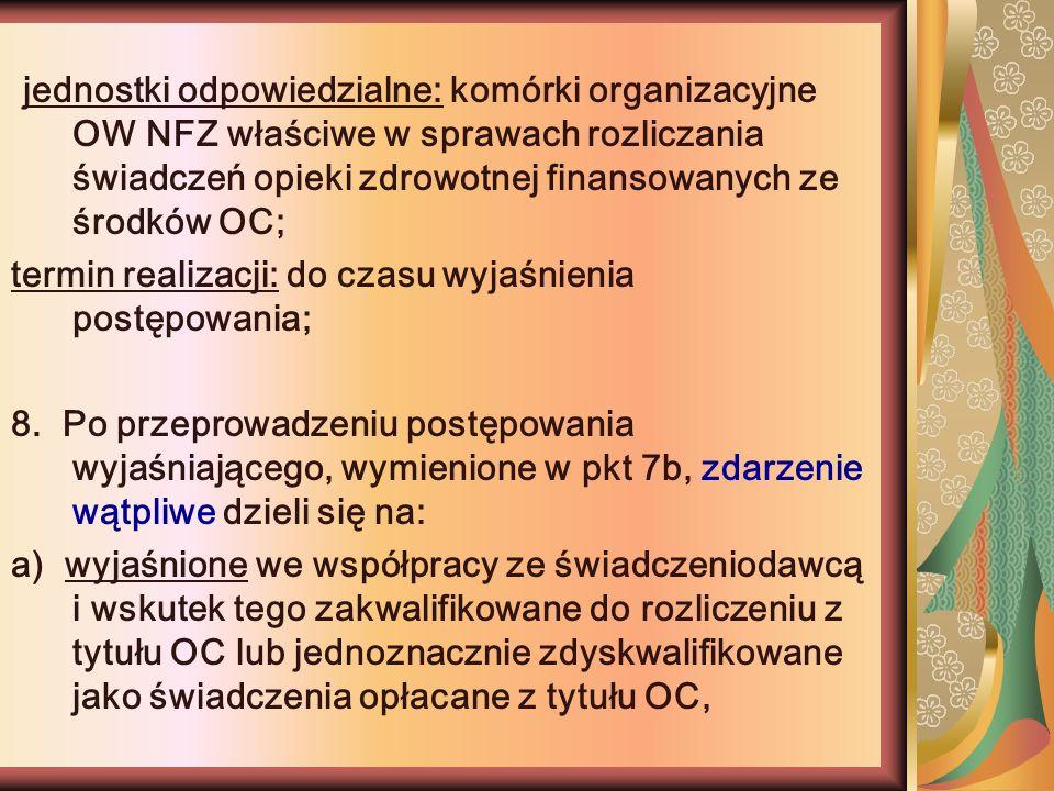 jednostki odpowiedzialne: komórki organizacyjne OW NFZ właściwe w sprawach rozliczania świadczeń opieki zdrowotnej finansowanych ze środków OC;