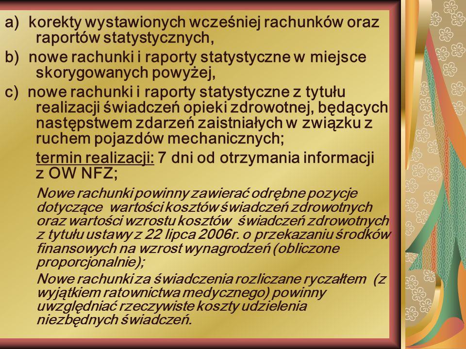 termin realizacji: 7 dni od otrzymania informacji z OW NFZ;