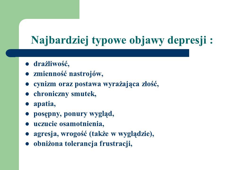 Najbardziej typowe objawy depresji :
