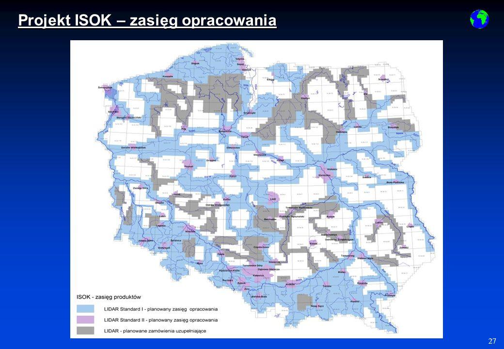 Projekt ISOK – zasięg opracowania