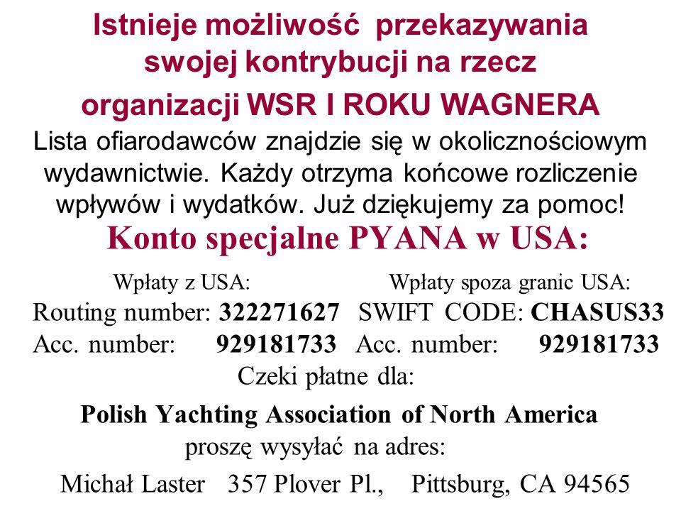Istnieje możliwość przekazywania swojej kontrybucji na rzecz organizacji WSR I ROKU WAGNERA Lista ofiarodawców znajdzie się w okolicznościowym wydawnictwie. Każdy otrzyma końcowe rozliczenie wpływów i wydatków. Już dziękujemy za pomoc!