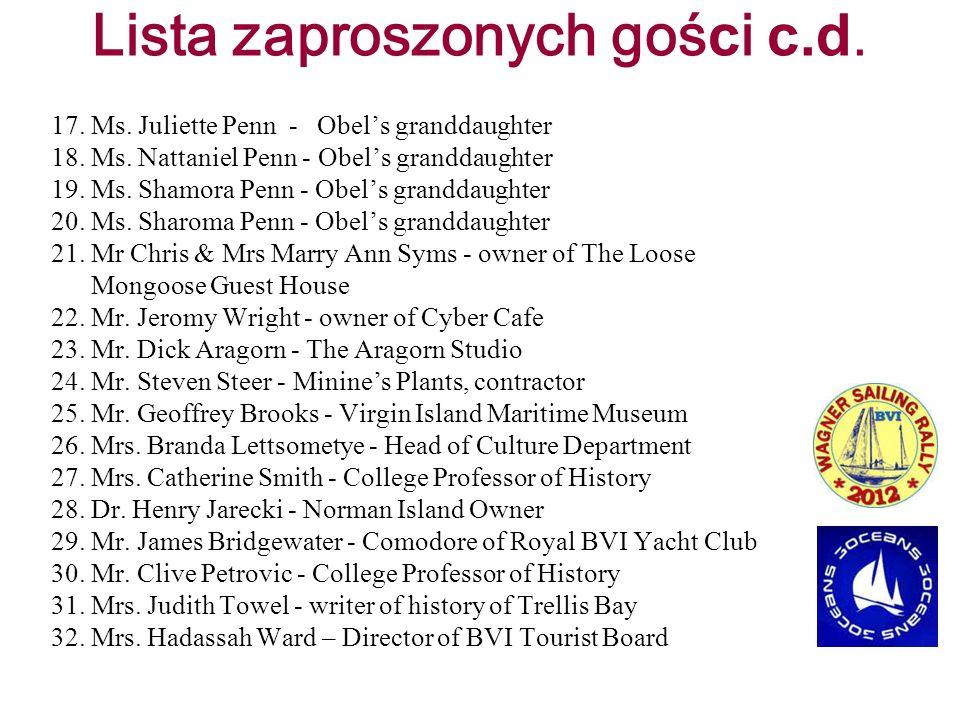 Lista zaproszonych gości c.d.