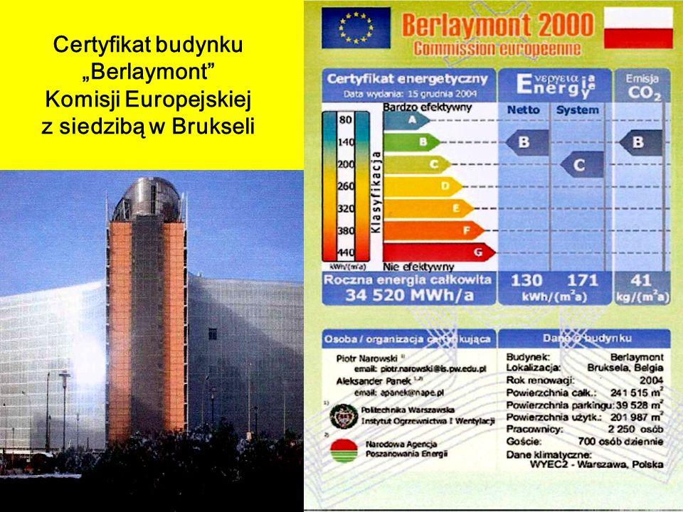 """Certyfikat budynku """"Berlaymont Komisji Europejskiej z siedzibą w Brukseli"""
