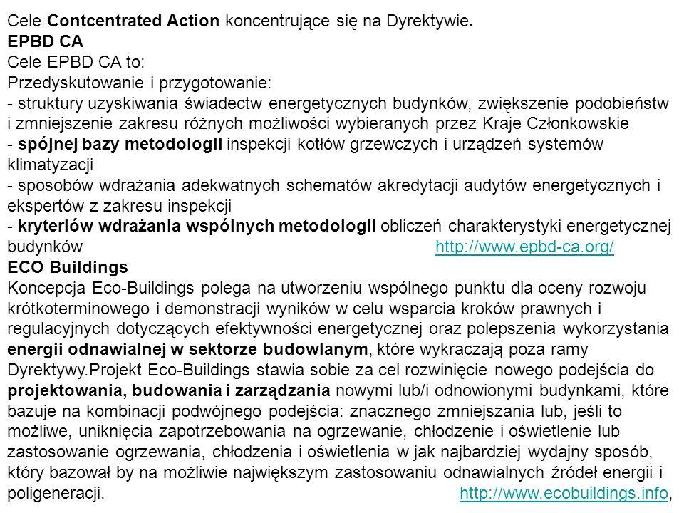 Cele Contcentrated Action koncentrujące się na Dyrektywie.