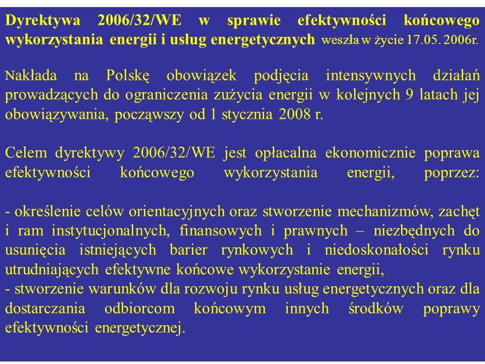 Dyrektywa 2006/32/WE w sprawie efektywności końcowego wykorzystania energii i usług energetycznych weszła w życie 17.05. 2006r.