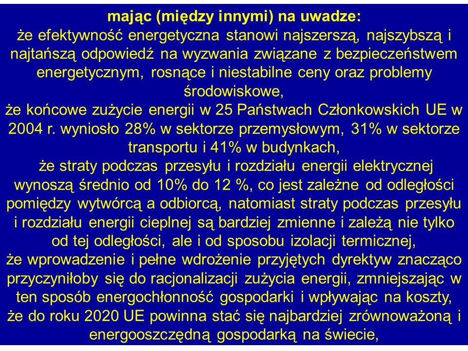 mając (między innymi) na uwadze: