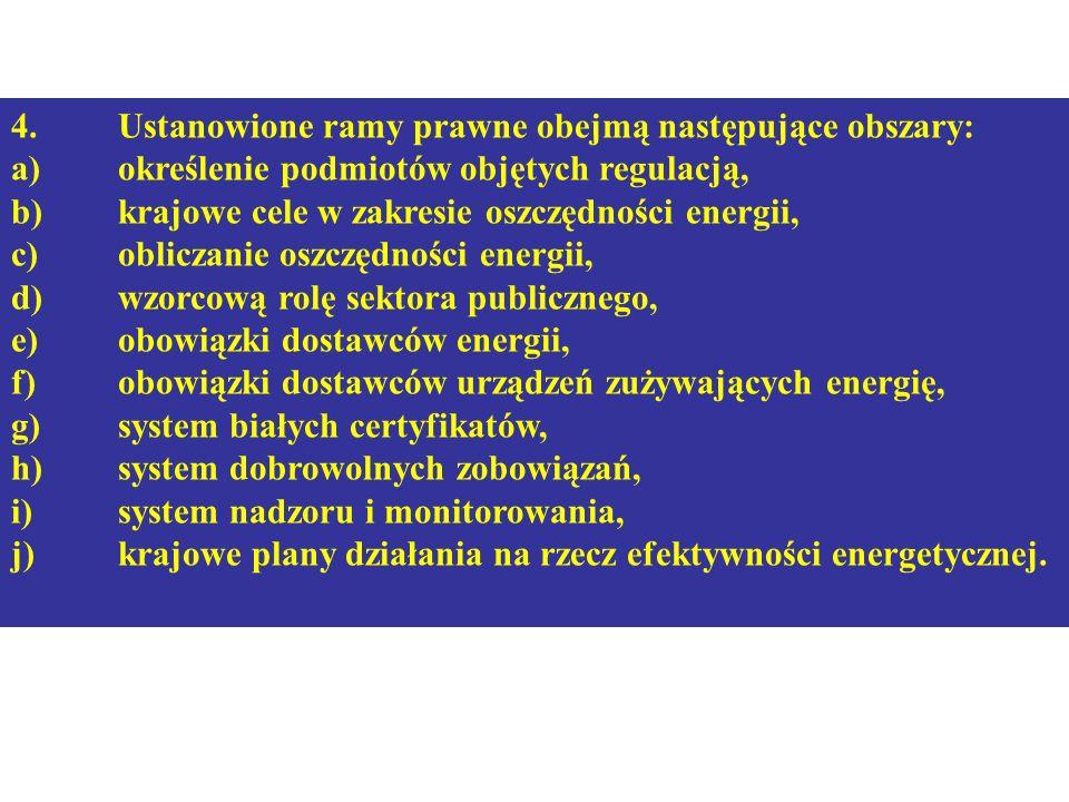 4. Ustanowione ramy prawne obejmą następujące obszary: