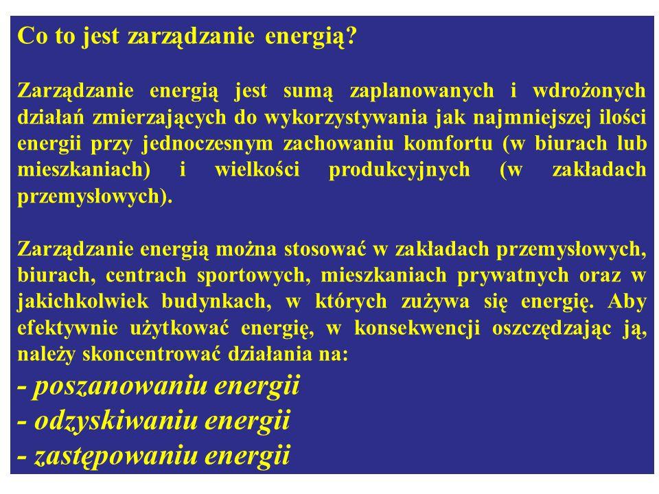 - poszanowaniu energii - odzyskiwaniu energii - zastępowaniu energii