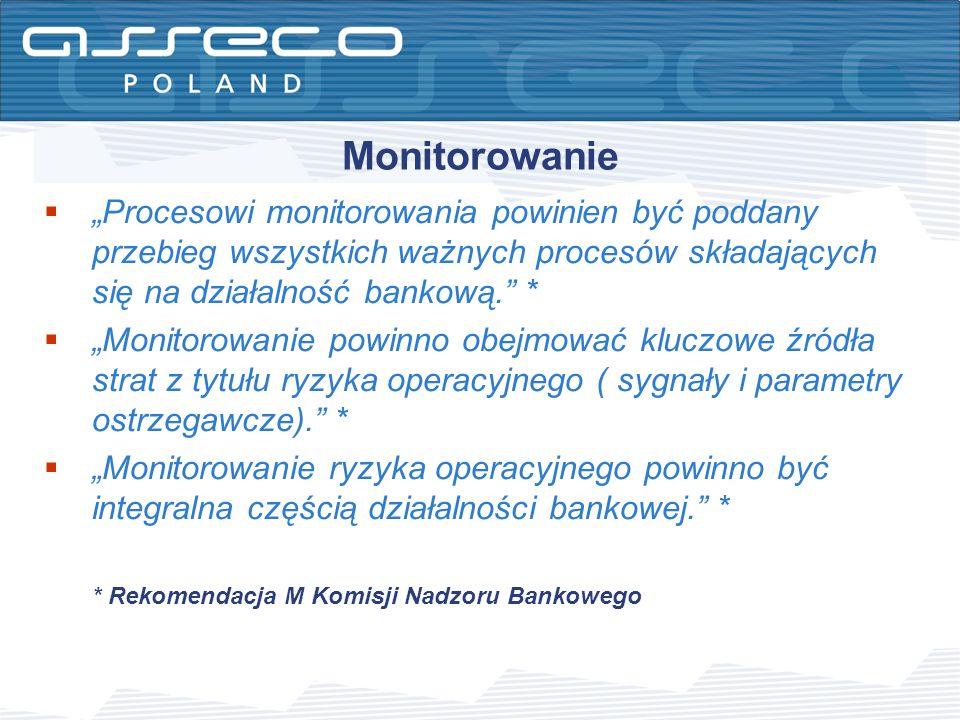"""Monitorowanie """"Procesowi monitorowania powinien być poddany przebieg wszystkich ważnych procesów składających się na działalność bankową. *"""