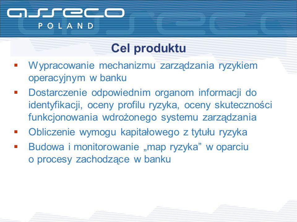 Cel produktu Wypracowanie mechanizmu zarządzania ryzykiem operacyjnym w banku.