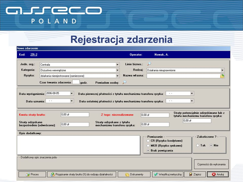 Rejestracja zdarzenia