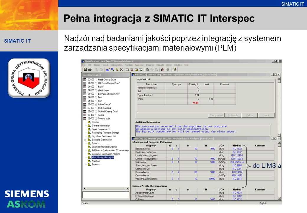Pełna integracja z SIMATIC IT Interspec