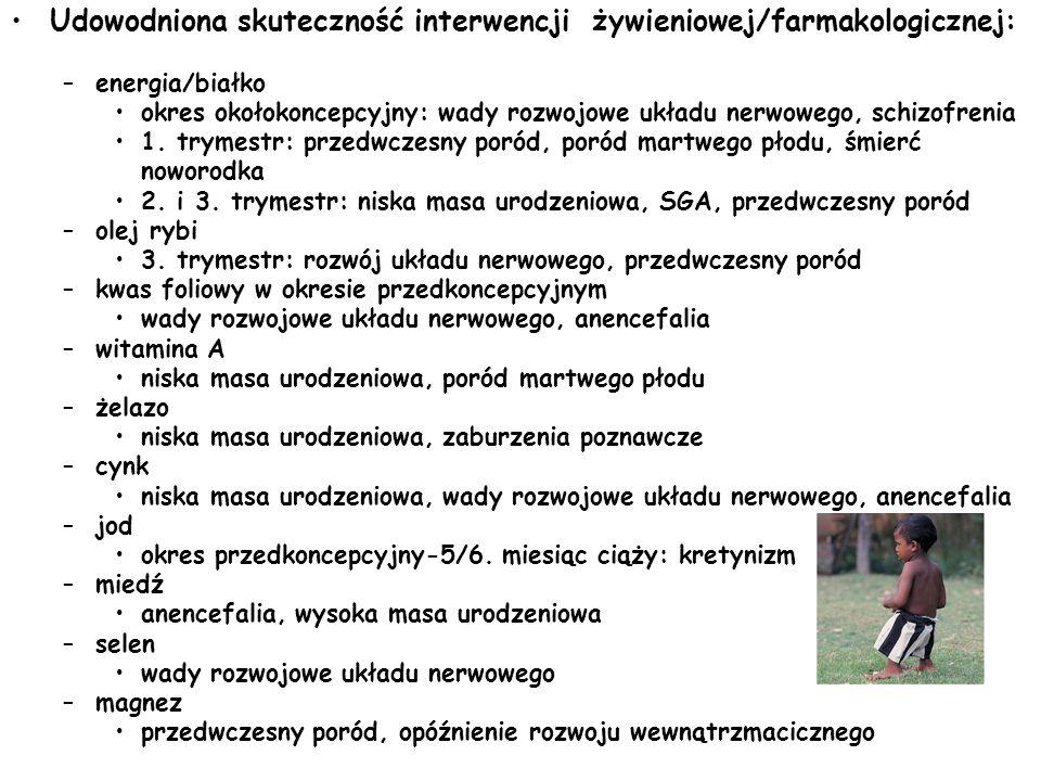 Udowodniona skuteczność interwencji żywieniowej/farmakologicznej: