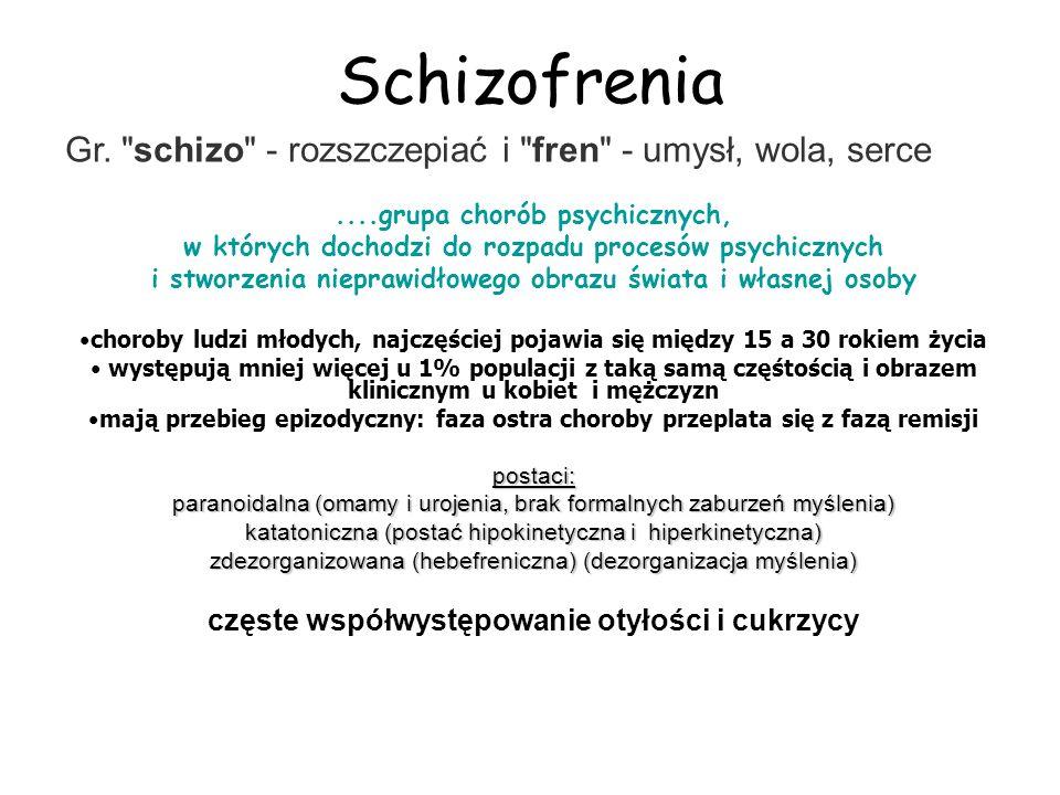 Schizofrenia Gr. schizo - rozszczepiać i fren - umysł, wola, serce