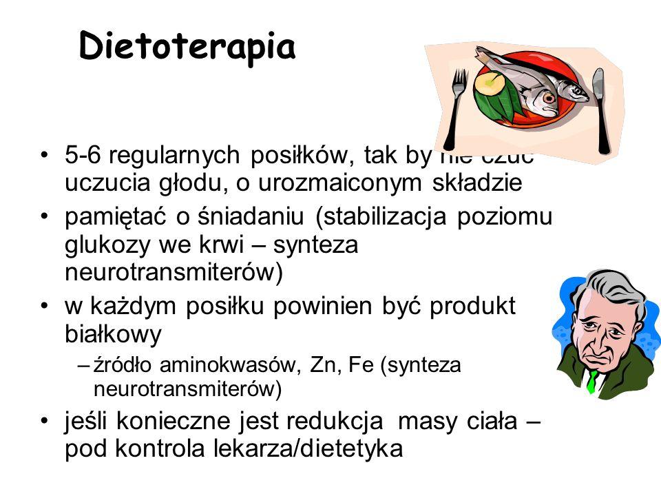 Dietoterapia5-6 regularnych posiłków, tak by nie czuć uczucia głodu, o urozmaiconym składzie.