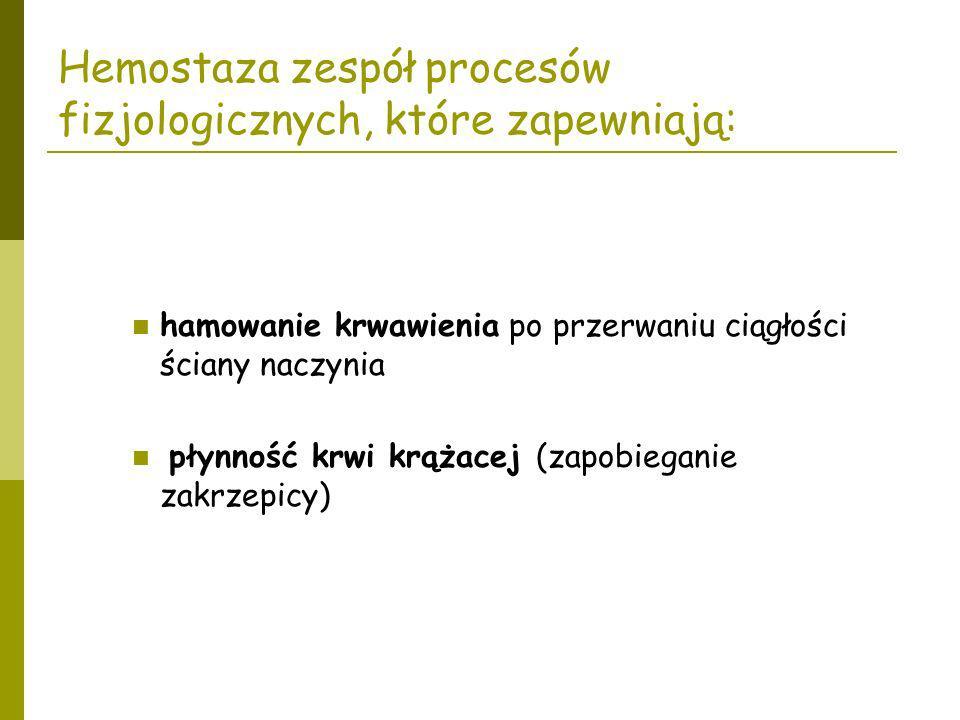 Hemostaza zespół procesów fizjologicznych, które zapewniają:
