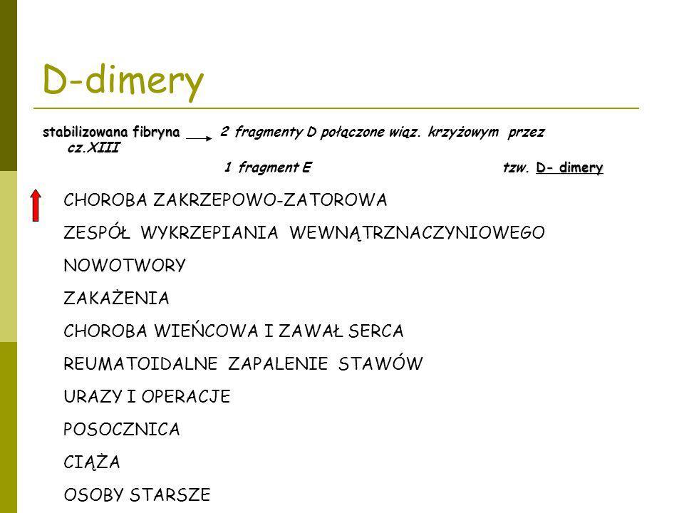 D-dimery CHOROBA ZAKRZEPOWO-ZATOROWA